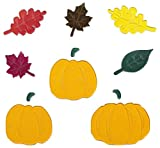 Impact Innovations Fall Harvest Reusable Gel Window Clings ~ Pumpkins with Stems, Maple Leaves, Oak Leaves (11 Clings, 1 Sheet)