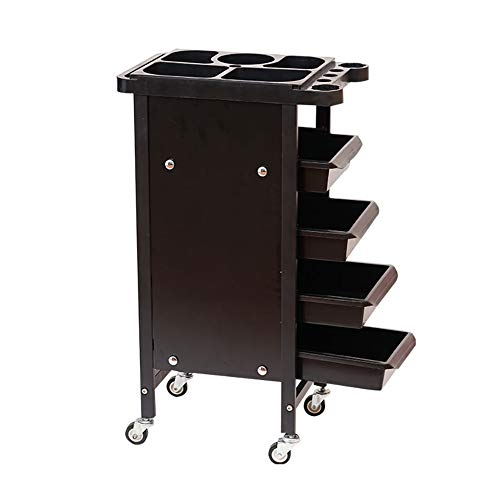 Barber Shop Hairdressing Trolley 5-Tier Iron Beauty Salon Tool Carts Multifunction Movable Trolley with 4 Drawers, 48×31×83cm -