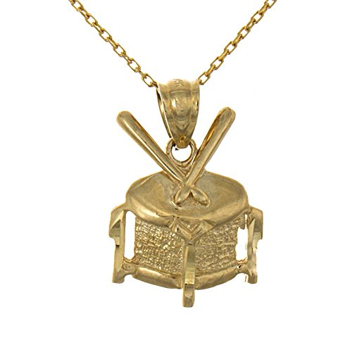 14k Yellow Gold Music Necklace Pendant with Chain, Percussion Instrument, 2D Drum with Drum Sticks by Million Charms