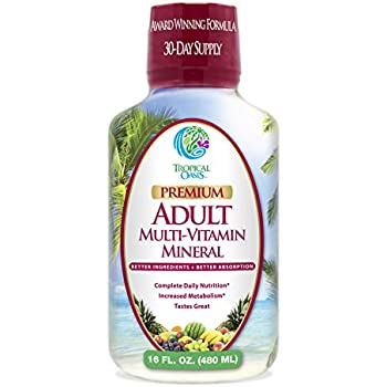 Tropical Oasis Adult Liquid Multivitamin & Mineral Supplement - 125 Total Nutrients including; 85 Vitamins & Minerals, 23 Amino Acids, and 18 Herbs -- 16 fl oz, 32 serv