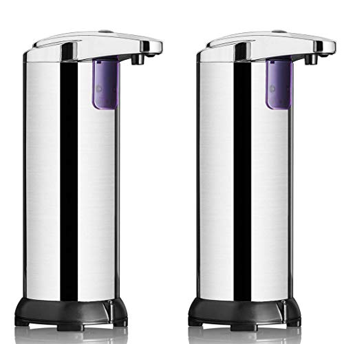 ClearMax Automatic Soap Dispenser Premium Stainless Steel Auto Touchless Soap Dispenser w/Hands Free IR Infrared Motion Sensor for Kitchen amp Bathroom  2 Pack 2nd Generation