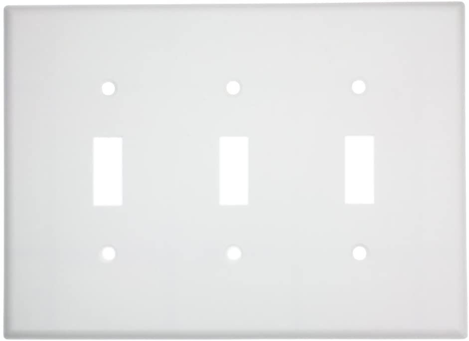 Leviton 80511-W 3-Gang Toggle Device Switch Wallplate, Midway Size, White