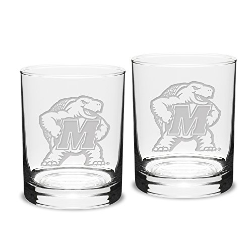 NCAA Maryland Terrapins Adult Unisex Set of 2-14 oz Double Old Fashion Glasses Deep Etch Engraved, One Size, Clear -