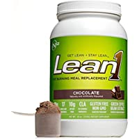 LEAN1 Chocolate Protein Powder Meal Replacement Shakes by Nutrition 53, Lactose & Gluten Free with Green Coffee Bean Extract, 23 Serving Tub - 43 oz