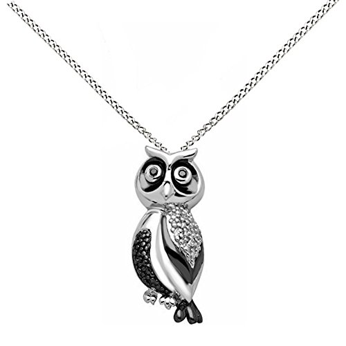 Jewel Zone US Mothers Day Jewelry Gifts Black & White Natural Diamond Accent Sterling Silver Owl Pendant Necklace