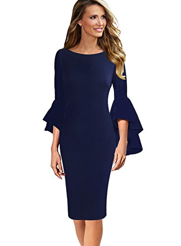 VFSHOW Womens Ruffle Bell Sleeves Business Cocktail Party Sheath Dress 1222 BLU L