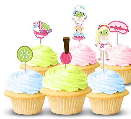 (Spa party sleepover cupcake toppers 12 ct - Great for girl birthdays, celebrations, supplies, decorations - Thick card-stock toppers - Handmade in the USA)