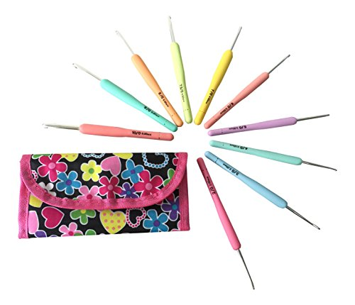 10 Crochet Hooks Set Organizer Case, Ergonomic Aluminum Hooks, Needle Size 2mm 2.2,mm(B) 2.5mm 3mm(D) 3.5mm(E) 4mm(G) 4.5mm(7) 5mm(H) 5.5mm(I) 6mm(J)