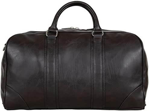 "Ben Sherman 20"" Vegan Leather Travel Duffel Bag Top Zip Weekender Carry-On Duffle Luggage, Brown"