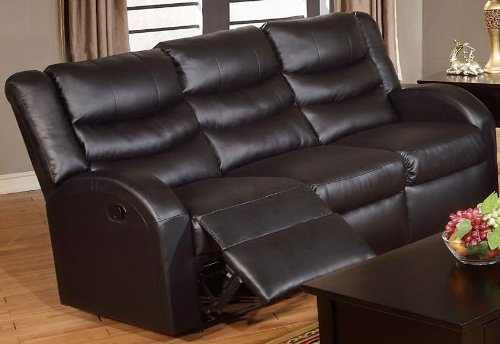 Bobkona Motion Sofa in Black Bonded Leather by Poundex