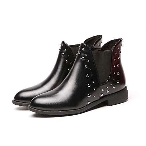 Bota ALIKEEY Tobillo Casual Caliente Botas Los Martin Botas Plana Una Zapatos Mantener Mujeres Las Negro Remaches Cuero zFprwqRz