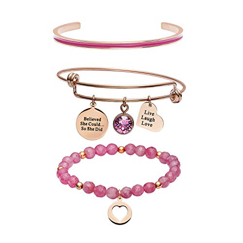 SIMECO Pink Jade Stone Beads Bracelet Rose Gold Stainless Steel Ball - Women Enamel Cuff C Wrap Bangle Polished Charm Crystal Adjustable Cable Bangle Set for Women Girl