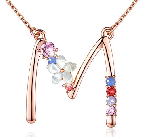 Flower Initial Necklace Amethyst Pink Opal Yellow Velvet Pendant Multi-Color Jewelry Made with Swarovski Zirconia Tone with Double Rose Gold Plated Great Bless to Yourself, Your Love and Your Friend-M