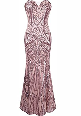 Aecibzo Women's 1920s Beaded Sequin Floral Maxi Long Gatsby Flapper Prom Dress