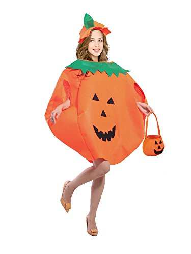 Clever Halloween Costumes Idea (Gamlon Halloween Costume for Adults Men Women Couples Pumpkin Costume with a jack-o-lantern Bag)