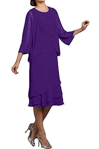 Partykleider Abendkleider Cocktailkleider Royalblau Chiffon Glamour Neu KnieKnielang 2017 Violett Ivydressing Jacke Rund mit Zw8qOx