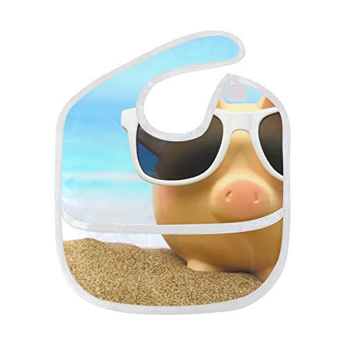 My Little Nest Summer Beach Cute Piggy Bank Soft Washable Baby Bib for Baby Boys Girls 6-24 -