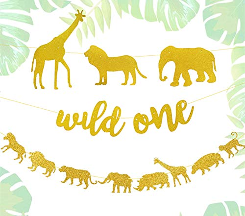 (JeVenis Set of 2 Glitter Wild One Banner Jungle Safari Theme Banner Safari Birthday Decoration Safari Party Sign Wild Things Birthday Decorations Safari Birthday Party Signs)