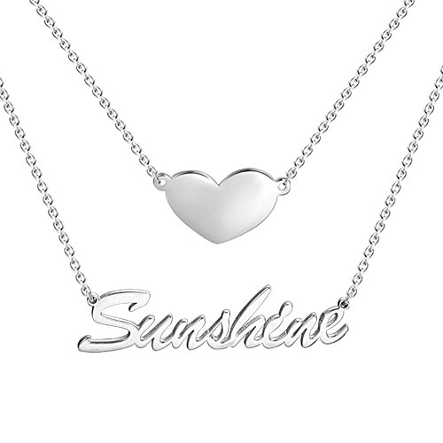 SOUFEEL Customized Name Necklace Personalized Necklace 925 Sterling Silver Necklace Nameplate