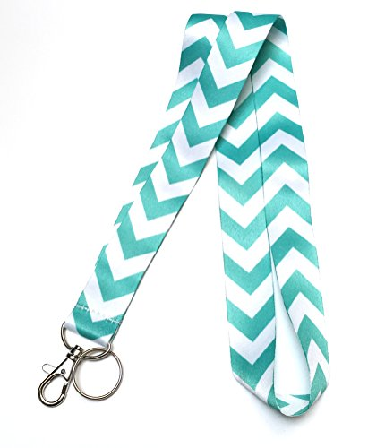 - WigsPedia Chevron Neck LANYARDs Keychain for Key/ID Holder (Navy Dark Blue/White Chevron) (Turquoise Teal/White Chevron)