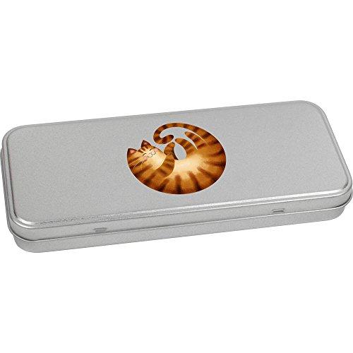 Azeeda 'Curled up Ginger Cat' Metal Hinged Stationery Tin / Storage Box (Stationery Tin)