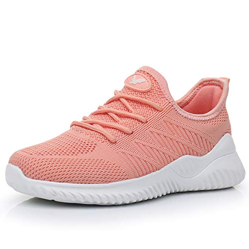 JARLIF Women's Memory Foam Slip On Walking Tennis Shoes Lightweight Gym Jogging Sports Athletic Running Sneakers Peach 7.5 B(M) US