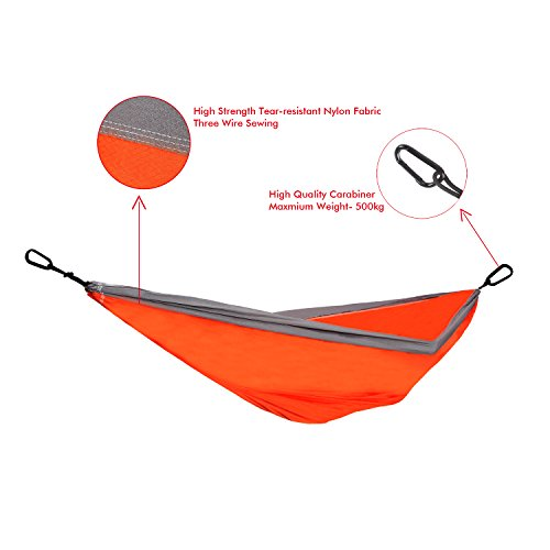 Ohuhu Double Camping Hammock, Tear-resistant Nylon, Orange & Gray