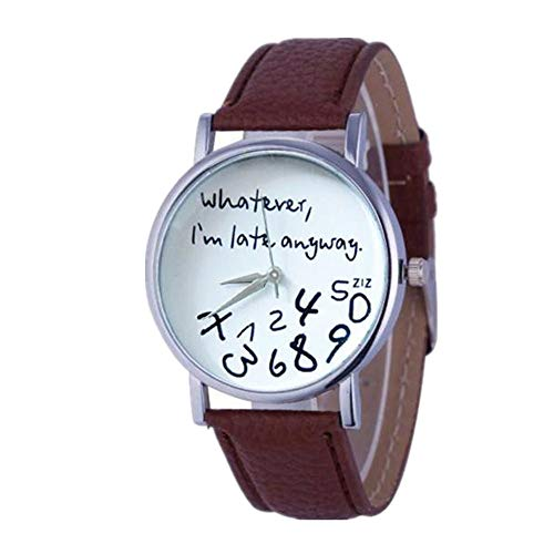 Muranba 2019 ! Hot Women Leather Watch Whatever I am Late Anyway Letter Watches (Brown) ()