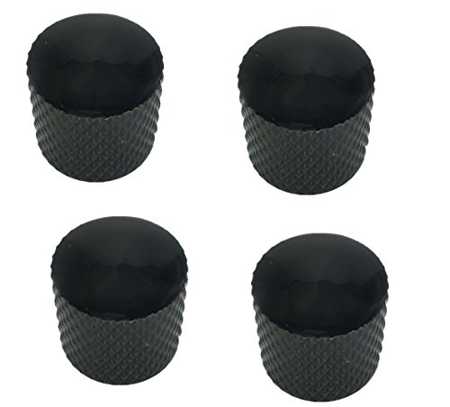 Black Metal Dome Knob - Guitar Bass Knobs Dome Standard Black Steel Metal Pack of 2pcs