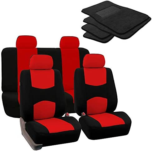 FH Group Flat Cloth Full Set Car Seat Covers (Red) + Carpet Floor Mat with Heel Pad (Black) – Universal Fit for Cars Trucks & SUVs