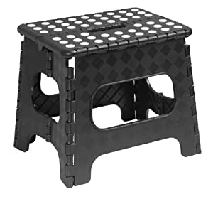 Folding Step Stool 11 Inch with Anti Slip Dots (Black)