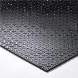 8' x 8' Gym Flooring Kit - Black Virgin Rubber Flooring Tiles with Slip Resistant Diamond Plate Pattern