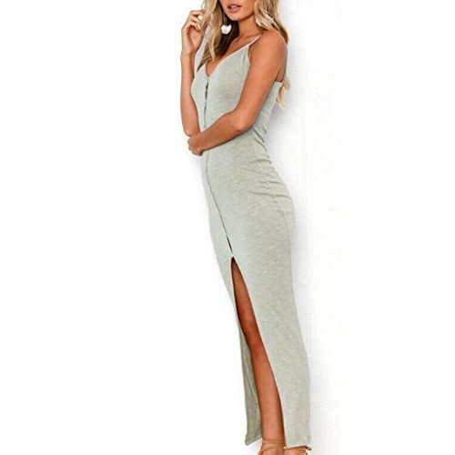 Robe Sexy Masterein Longue V gris Femmes Avant Fille Bouton Robe en Spaghetti Strap Ouverte col Zq7ranq5w
