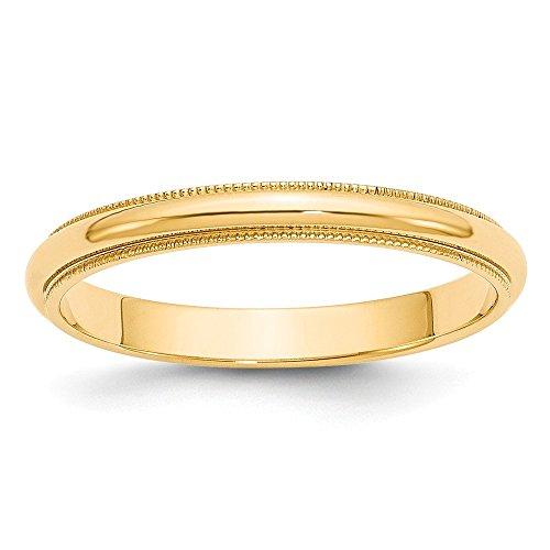 Size 10 Solid 14k Yellow Gold 3mm Milgrain Half-Round Wedding Band ()