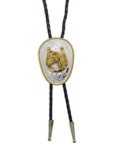 Western Express Men's German Silver Horsehead And Horseshoe Bolo Tie Silver One Size from Western Express