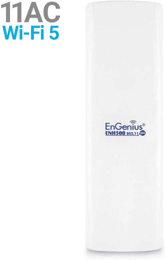 EnGenius EnJet Wi-Fi 5 Wave 2 Outdoor AC867 5GHz Plug-n-Play Wireless CPE/Client Bridge, Long-Range, PTP/PTMP, IP55, 27dBm, with 16 dBi High-Gain Antenna (ENH500v3)