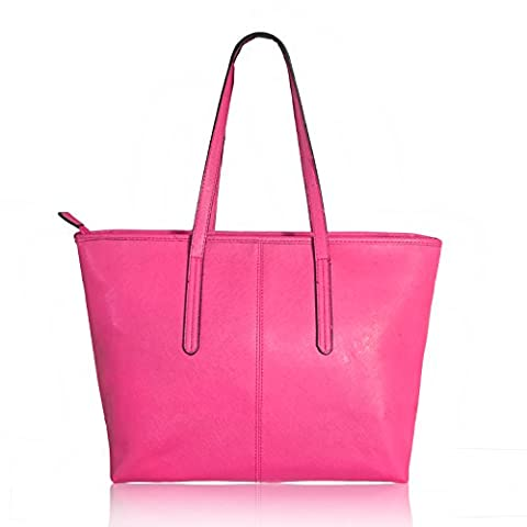 Women's Fashion Handbag PU Leather Large Capacity Shoulder Bags Tote Bags (Rose) - Pink Laptop Tote