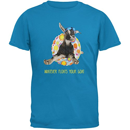 Animal World Whatever Floats Your Goat Boat Sapphire Blue Adult T-Shirt - -