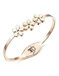 AmDxD Jewelry Stainless Steel Cuff Bracelets for Women Daisy Flower Rose Gold 16CM