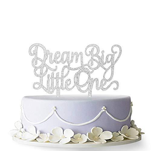 - Dream Big Little One Cake Topper,Gender Reveal, Baby Shower Nursery Decor (Silver)