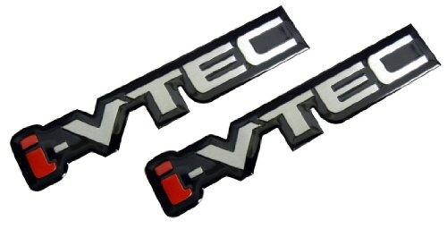 2 x i-VTEC Silver Red Black Engine Aluminum Emblem Badge Nameplate Decal Logo Rare (pair/set of 2) for Honda Acura Civic Si (Honda Civic Si Tuners)