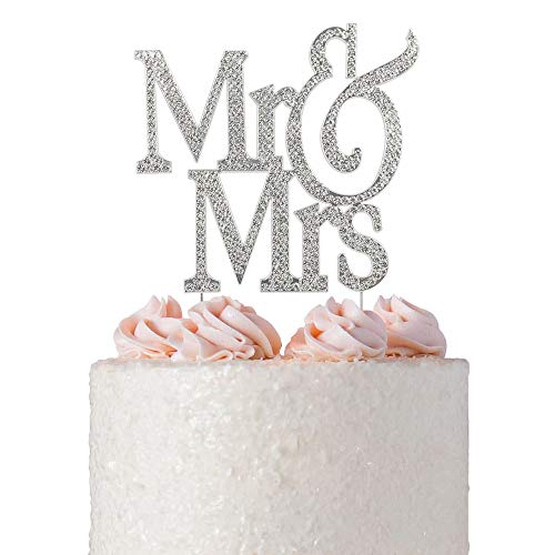 Mr and Mrs Cake Topper | Premium Crystal Bling Rhinestone Diamond | Wedding Anniversary Bridal Shower Bachelorette Party or Vow Renewal Decoration Ideas | Perfect Keepsake (Mr&Mrs Non-Script -
