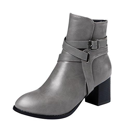 Charm Foot Mujeres Vintage Chunky Heel Strappy Chukka Botas Gris