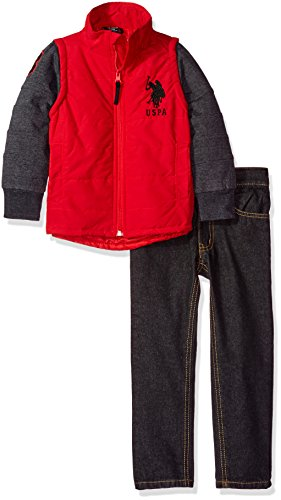 U.S. Polo Assn. Boys' Little Boys' Puffer Vest with Fleece Sleeves and Denim, Engine Red/Black, 7
