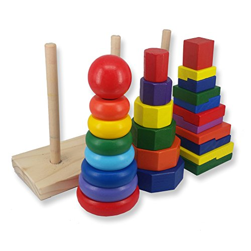 Woody Geometric Stacker | 25 pcs of Colorful Solid Wood Geometric Stacker Stacking Toy for Toddlers | 3 Exceptional Shapes for Building Early Shapes Color and Size Differentiation Skills | 1456.2