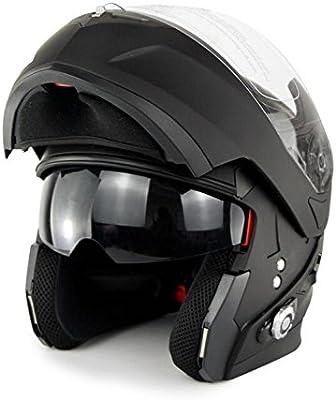 500M 500 Mah Cascos Moto Integrales Bluetooth Inalámbricos Con Auriculares Y Recargable Largo Alcance Interfono Motocicleta - Doble Espejo BT Music Helmet ...