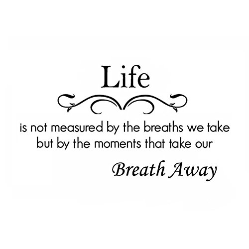 Life is Not Measure by The Breaths We Take But by The Moments That Take Our Breath Away Wall Decal Removable Wall Sticker for Home -