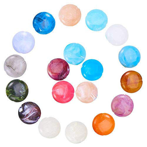 Craftdady About 190Pcs Random Mixed Colors Imitation Gemstone Acrylic Flat Round Spacer Beads 22mm Large Colorful Plastic Coin Disc Loose Beads for DIY Jewelry Craft Making with 2mm Hole ()