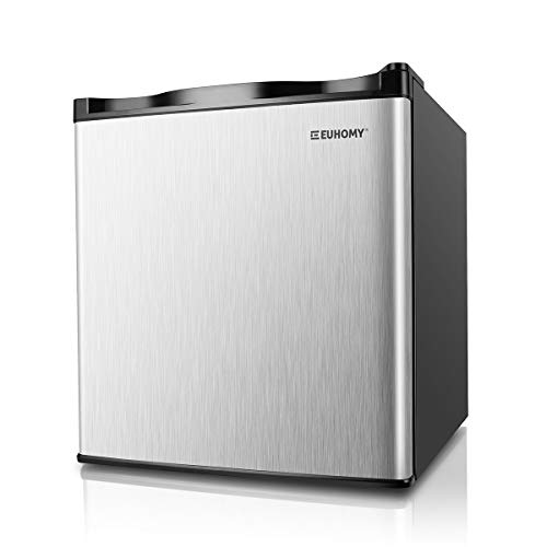 Euhomy Mini Freezer, Energy Star 1.1 Cubic Feet Single Door Countertop Compact Upright Freezer with Reversible Stainless Steel Door.