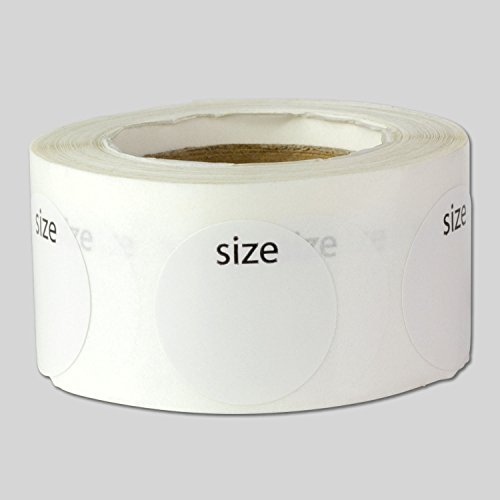 Clothing Size Labels Round Self Adhesive Stickers for Retail Apparel T Shirts (White Black / .75